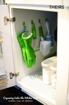1. This hack worked quite well. I'm always struggling to find my rubber gloves in the deep dark depths of the cabinet, so I love that they are now easily procured. I mounted my hooks on the cabinet door, so the setup also eliminates some clutter underneath the sink.