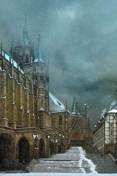 Snowy Day, Erfordia, Erfurt,Germany   photo via gugielmina