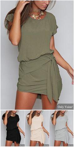 Self-tie Design Round Neck Short sleeves Dress in Green