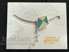 Hope you're feeling special... This kite from the Swirly Bird stamp set creates a fun spinner to use with the Sliding Star framelits! Featuring new Stampin' Up 2016 In Colors Emerald Envy and Peekaboo Peach, and the cloud from Sprinkles of Life! Sentiment from Garden in Bloom. Design by ScrappyZ