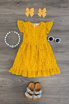 Lily Lace Dress - Mustard - Sparkle In Pink Baby Dress Design, Frock Design, Outfits Niños, Kids Outfits, Dresses Kids Girl, Cute Dresses, Mustard Fashion, Baby Frocks Designs, Baby Dress Patterns