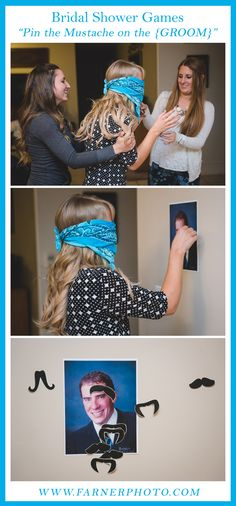Bridal shower and Bachelorette party game ideas.  Pin the mustache on the groom.  This is such a great idea! Utah Wedding Photographer | Farner Photography