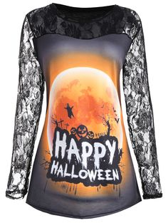 I Want This   Happy Halloween Moon Lace Insert Plus Size T-shirt Cheap  Halloween 9032e0c5ed88