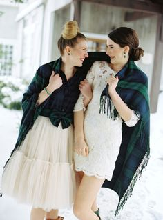 Photography: Charlotte Jenks Lewis Photography - charlottejenkslewis.com Bridesmaids Dresses: Shirt- The Gap, Skirt- Custom Modern Trousseau - www.moderntrousseau.com   Read More on SMP: http://www.stylemepretty.com/2014/03/17/tartan-and-tulle-inspiration-shoot/