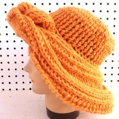 Birthday Gift Ideas for Women, Orange Crochet Hat Womens Hat, Crochet Winter Hat, FRONTIER Wide Brim Hat, Desert Glaze Orange Hat by strawberrycouture Crochet Hat With Brim, Crochet Winter Hats, Crochet Hat For Women, Knitted Hats, Crochet Hats, Crochet Braids, Crab Stitch, Orange Hats, Steampunk Hat