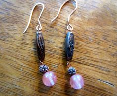 Rose Quartz Necklace and Earring Set by OceanArtisan on Etsy