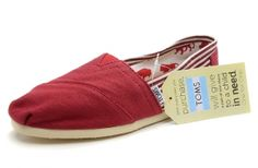 Hot Sale Canvas Stripe Red Women's Classic [toms-100] :$26.00