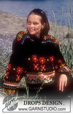 """DROPS 28-19 - DROPS jumper with pattern borders in """"Karisma"""". - Free pattern by DROPS Design"""