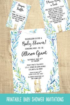 Printable blue bunny baby shower invitations