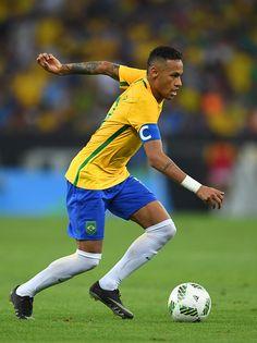 Neymar of Brazil runs with the ball during the Men's Football Final between…