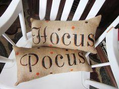 Halloween pillows, burlap pillow, decorative pillows, halloween, fall throw pillows, hocus pocus, autumn decor, holiday decor