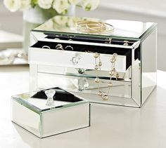 Selina Mirrored Jewelry Box by #potterybarn... coming up with all kinds of pretty ideas for utlizing these without jewelry! Or I'll just put all my ~personal essence~ pieces in it so they'll feel special.