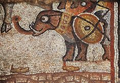 Detail, elephant mosaic, from the Huqoq Exploration Project, Jodi Magness Director.