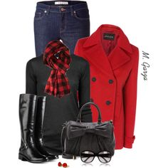 """Black and Red Outfit"" by maria-garza on Polyvore #button #earrings"