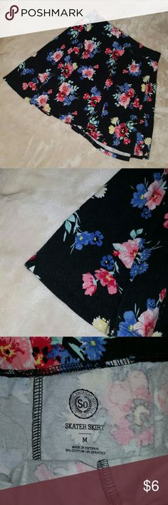 Floral skater skirt Black skater skirt with pink and blue flowers. From Kohls size small. In great condition SO Skirts Circle & Skater