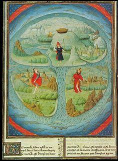 MAPPA MUNDI in JEAN MANSEL La Fleur des Histoires. Valenciennes, 1459-1463, manoscritto, penna, inchiostro e colori su pergamena, 30 X 22 cm (carta). Bruxelles, Bibliothèque     Royale de Belgique, MS. 9231, fol. 281v. Mappa attribuita a Simom Marmion