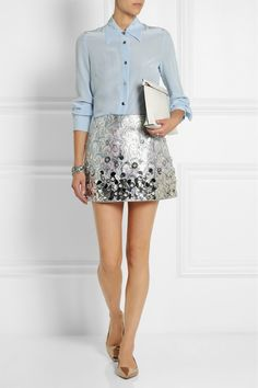 MIU MIU Embellished metallic jacquard mini skirt MIU MIU Washed-silk shirt JIMMY CHOO Attila mirrored-leather point-toe flats