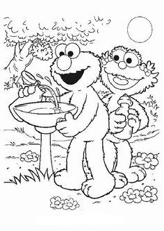 Kleurplaat Sesamstraat: Elmo en Zoe
