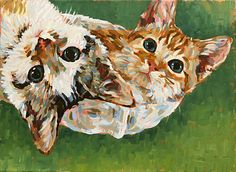 Two Kittens in a Radiator Basket. Pet portrait in acrylics on canvas by Simon Birtall.