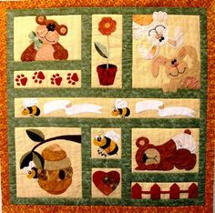 Bears Bees and Bunnies Adorable Applique and Pieced by QuiltsForU2, $175.00