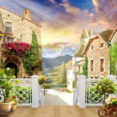Фрески КЛАССИЧЕСКИЕ « Фото Фреска Beautiful Paintings, Beautiful Landscapes, Miracle Garden, New Background Images, Beautiful Nature Pictures, Ocean Scenes, New Backgrounds, Hindu Deities, House Styles