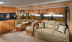 Rv Interior Remodeling Ideas | ... Winds Hurricane class A motorhome interior - dinette/hide-a-bed sofa
