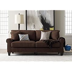 "Amazon.com: Serta RTA Palisades Collection 73"" Sofa in Glacial Gray: Kitchen & Dining"