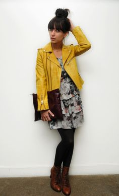 i love this print dress with the vibrant leather jacket.