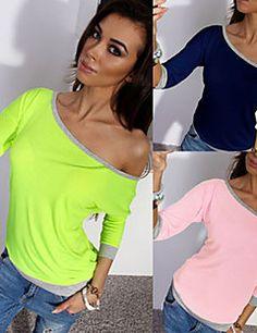 DONNE - T-shirt - Sexy / Informale / Lavoro Monospalla - Maniche a ¾ Cotone