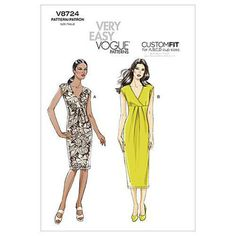 vintage sewing patterns Very Easy Vogue 8724 Misses Dress Pattern Sz New Uncut - Plus Size Sewing Patterns, Dress Sewing Patterns, Vintage Sewing Patterns, Clothing Patterns, Sundress Pattern, Fabric Patterns, Vogue Patterns, Fashion Catalogue, Miss Dress