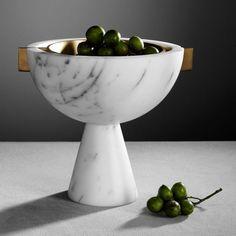 Apparatus, Schale aus Marmor und Messing, in schwarzem und weißem Marmor erhätlich.