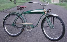 Vintage 1957 AMF Cleveland Welding Built Roadmaster Ballooner Bike Green and Brown Cruiser Bicycle, Vintage Bikes, Bike Design, Cool Bikes, Green And Brown, Welding, Cleveland, Restoration, Memories