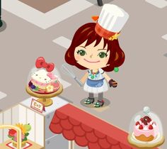 KITTY birthday cake in ameba pigg    It started KITTY event in ameba pigg cafe. I gathered many cafe seal and I try to routate GACHA machine many time. I hit the KITTY birthday cake. I'm happy to get it. and I'm makingover my cafe.