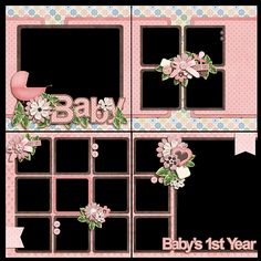 set up for 4 coordinating layouts Pregnancy Scrapbook, Baby Girl Scrapbook, Baby Scrapbook Pages, Kids Scrapbook, Scrapbook Sketches, Scrapbook Page Layouts, Scrapbook Paper Crafts, Scrapbook Albums, Scrapbook Cards