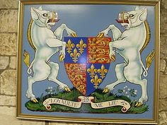 "Richard III's coat of arms. His personal symbol was the boar, which is why the little rhyme from the 15th century refers to England being ""under the hog"" -- England was ruled by Richard, the white boar."