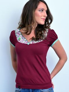 T-Shirt aus Jersey Stoff in bordeaux rot, lässiges Shirt, Oberteil für den Sommer, Sommermode / t-shirt made of jersey in red, casual short, summer top, summer fashion made by stadtkind_potsdam via DaWanda.com