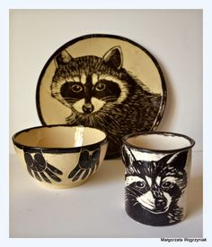 #polandhandmade #MWCeramics #ceramics #ceramika #pottery #breakfast #set #sgraffito #racoon #mug #kubek #talerzyk #plates #set