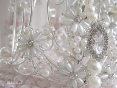 Gorgeous Pearl & Rhinestone Crown Closeup
