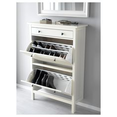 HEMNES Shoe cabinet with 2 compartments, white, cm. A place to organise and store all your shoes, making life on the go a little easier. The simple, classical design with a touch of tradition looks great with other furniture in the HEMNES series. Entryway Shoe Storage, Diy Storage, Storage Ideas, Shoe Storage Hacks, Entryway Ideas, Hallway Ideas, Organization Hacks, White Shoe Rack, Bedroom Vintage
