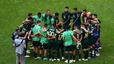 The Socceroos in a huddle after their second match v #Denmark, which ended in a 1-1 draw, and Australia needing a big win v #Peru to have any chance of advancing beyond the group stage. 22.06.18