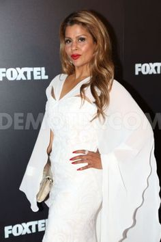 Foxtel Upfronts 2015 red carpet arrivalsReal Housewives Of Melbourne Season 2 – Pettifleur wearing Leiela's White Fleur with Fishtail Gown for Foxtel Upfronts 2015 red carpet arrivals
