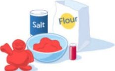 Homemade Clay    4 cups flour  1 cup salt  1 1/4 cups cold water  Food coloring  Large bowl