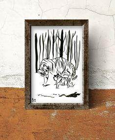 Mother and Baby tiger together in the snowy forest. Tigers are compassionate animals and very much loyal to each other. Watermark doesn't appear in the original artwork. Size of the painting 20 x cm / x in Painted with Indian ink on co Watercolor Artists, Ink Painting, Watercolor Paper, Snowy Forest, Black White Art, Mother And Baby, Illustration Artists, Tigers, Original Artwork