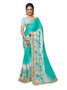 Buy Designer Sarees Aqua Colour Chiffon Jari Embrodery Work With Less Border Saree Buy Saree online UK - Buy Sarees online