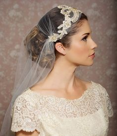 Juliet Cap Veil Gold Lace Veil Lace Bridal Cap by GildedShadows, $156.00