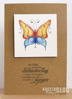 """blog.karten-kunst.de - Twinkling Butterfly Karten-Kunst Clear Stamp Set Butterfly Kisses, Karten-Kunst Clear Stamp Set Weise Worte """"Glück"""""""