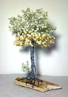 Handmade tree decor, metal sculpture with stones, office desk accessories, tree of life gemstone decoration, gift with onyx