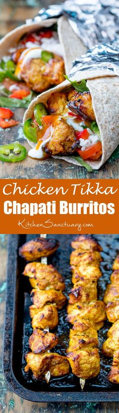 Chicken Tikka Chapati Burritos - the made-from-scratch marinade is so tasty and easy too! Makes a great alternative to sandwiches for the lunchbox! #IndianFoodRecipesChicken