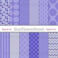 Purple Blue Digital Paper Patterns polka dot by StarFlowerStreetDA