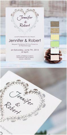 elegant heart design laser cut wedding invitations